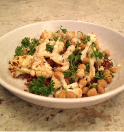 This dish is the Roasted Cauliflower in the 4th recipe.